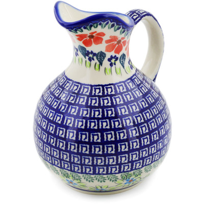 Polish Pottery Pitcher 5 Cup Grecian Fields