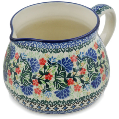 Polish Pottery Pitcher 50 oz Blue Bonnets UNIKAT