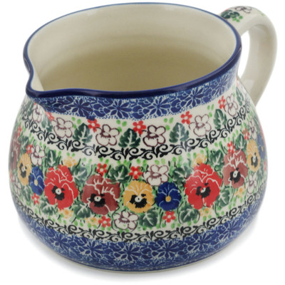 Polish Pottery Pitcher 50 oz Pansy Garden UNIKAT