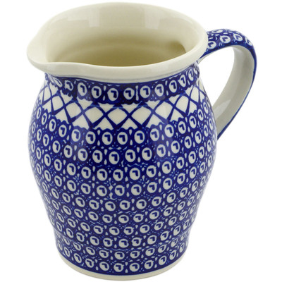 Polish Pottery Pitcher 56 oz Lattice Peacock