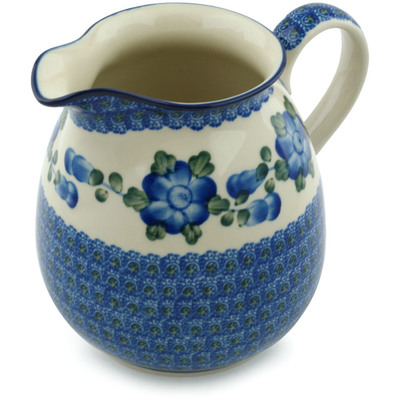 Polish Pottery Pitcher 6 Cup Blue Poppies