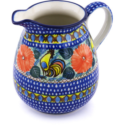 Polish Pottery Pitcher 67 oz Summer Rooster UNIKAT