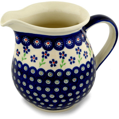 Polish Pottery Pitcher 7 Cup Bright Peacock Daisy