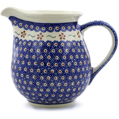 Polish Pottery Pitcher 7 Cup Sweet Red Flower