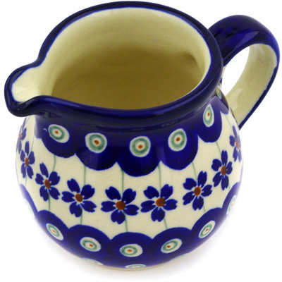 Polish Pottery Pitcher 8 oz Flowering Peacock