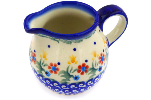 Polish Pottery Pitcher 8 Oz Spring Flowers