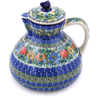 Polish Pottery Pitcher with Lid 101 oz Delightful Theme UNIKAT