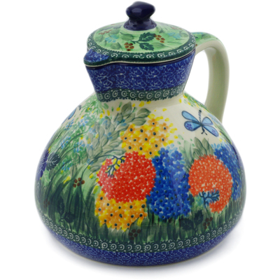 Polish Pottery Pitcher with Lid 101 oz Garden Delight UNIKAT