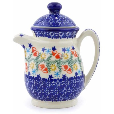 Polish Pottery Pitcher with Lid 15 oz Wreath Of Bealls