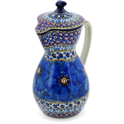 Polish Pottery Pitcher with Lid 17 oz Cobalt Poppies UNIKAT