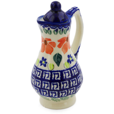 Polish Pottery Pitcher with Lid 4 oz Grecian Fields