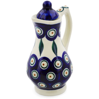 Polish Pottery Pitcher with Lid 4 oz Peacock
