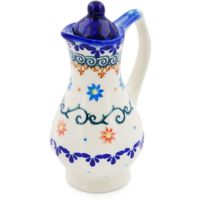 Polish Pottery Pitcher with Lid 4 oz Sunflower Dance