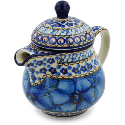 Polish Pottery Pitcher with Lid 8 oz Cobalt Poppies UNIKAT