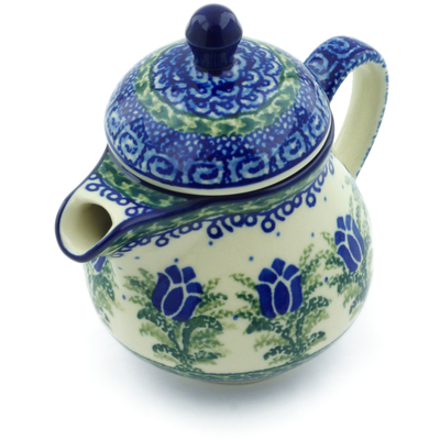 Polish Pottery Pitcher with Lid 8 oz Tulip Motif UNIKAT