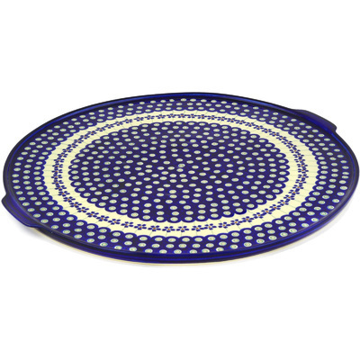"Polish Pottery Pizza Plate 17"" Flowering Peacock"