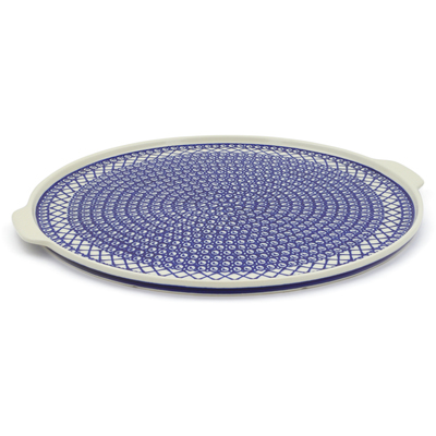 "Polish Pottery Pizza Plate 17"" Lattice Peacock"