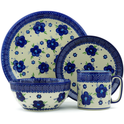 "Polish Pottery Place Setting 10"" Bleu-belle Fleur"
