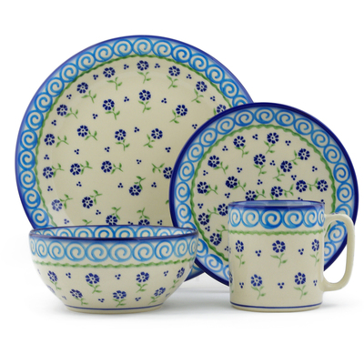 "Polish Pottery Place Setting 10"" Blue Bursts"