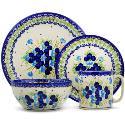 "Polish Pottery Place Setting 10"" Blue Pansy"
