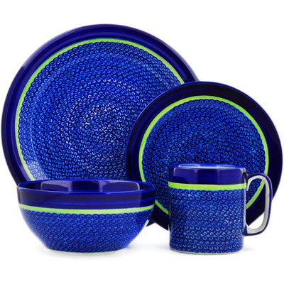"Polish Pottery Place Setting 10"" Midnight Eclipse"