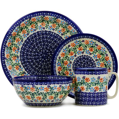 "Polish Pottery Place Setting 10"" Neon Wreath"