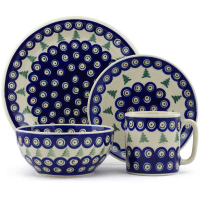 "Polish Pottery Place Setting 10"" Peacock Pines"