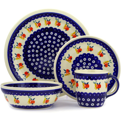 "Polish Pottery Place Setting 11"" Apple Pears"