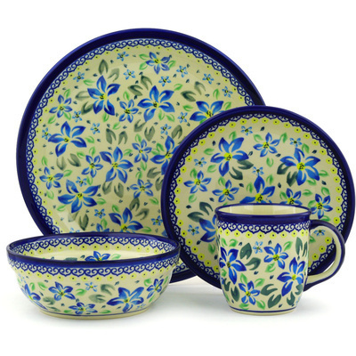 "Polish Pottery Place Setting 11"" Blue Clematis"