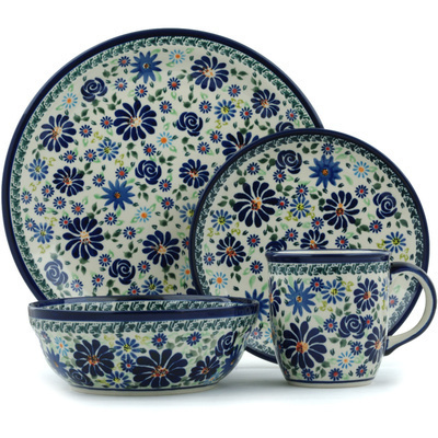 "Polish Pottery Place Setting 11"" Blue Summer Garden"