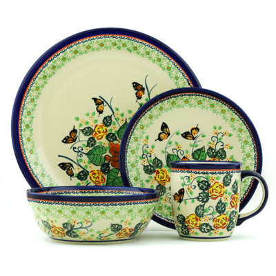 "Polish Pottery Place Setting 11"" Butterfly Meadow UNIKAT"