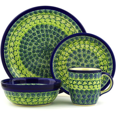 "Polish Pottery Place Setting 11"" Emerald Forest"