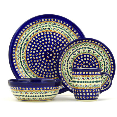 "Polish Pottery Place Setting 11"" Floral Peacock UNIKAT"
