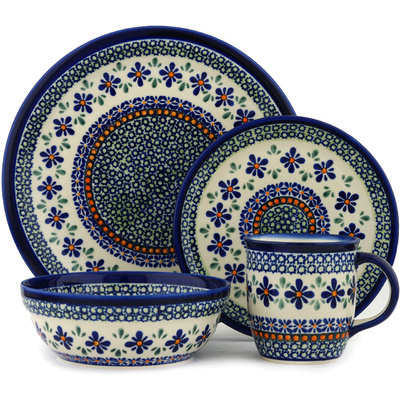 "Polish Pottery Place Setting 11"" Gingham Flowers"