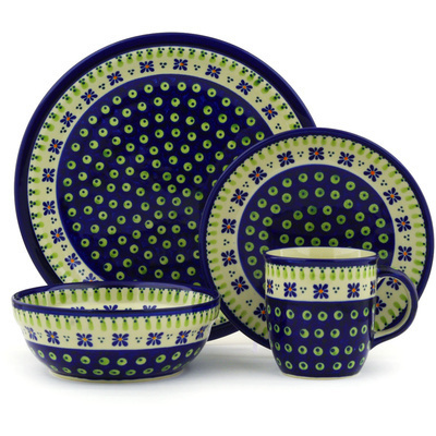 "Polish Pottery Place Setting 11"" Green Gingham Peacock"