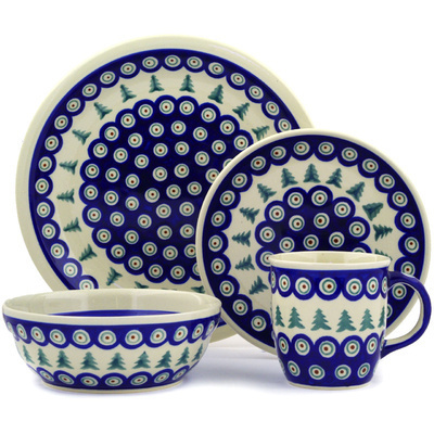 "Polish Pottery Place Setting 11"" Peacock Evergreen"