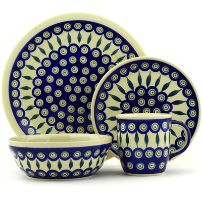 "Polish Pottery Place Setting 11"" Peacock Leaves"