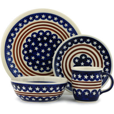 "Polish Pottery Place Setting 11"" Stars And Stripes Forever"