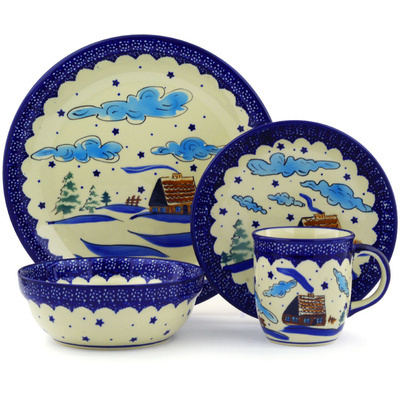 "Polish Pottery Place Setting 11"" Winter Chalet"