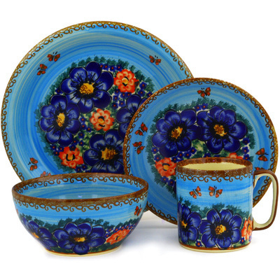 Polish Pottery Place Setting 4-Piece: Mug, Bowl, Dinner Plate, Side Plate Field Of Butterflies UNIKAT