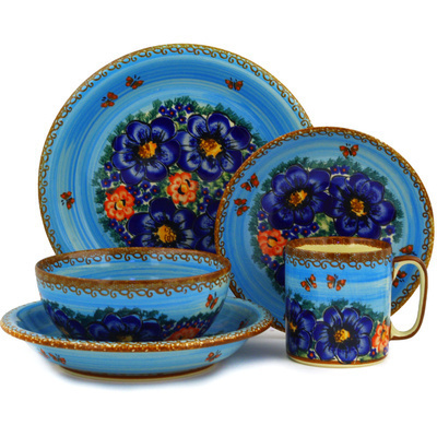 Polish Pottery Place Setting 5-Piece: Mug, Bowl, Pasta Bowl, Dinner Plate, Dessert Plate Field Of Butterflies UNIKAT