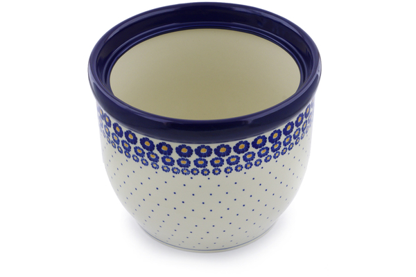 Polish Pottery Planter 12 Blue Zinnia
