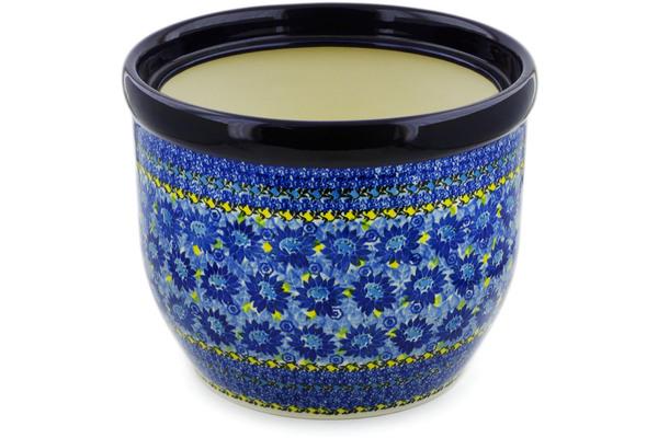 Polish Pottery Planter 12 Deep Blue Unikat