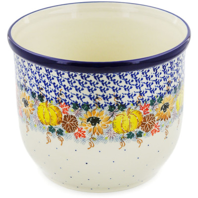 "Polish Pottery Planter 8"" Autumn Falling Leaves UNIKAT"