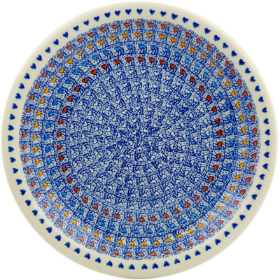 "Polish Pottery Plate 10"" Colorful Love"