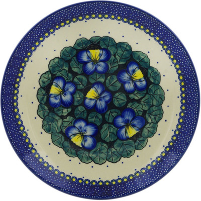 "Polish Pottery Plate 10"" Flower In The Grass UNIKAT"