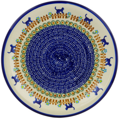 "Polish Pottery Plate 10"" Kittens Fence Walk"