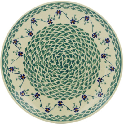"Polish Pottery Plate 10"" Lucky Blue Clover"