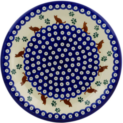 "Polish Pottery Plate 10"" Traditional Kitty"