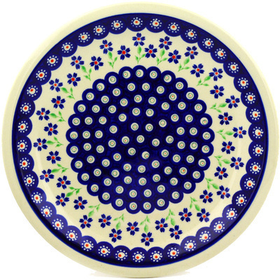 "Polish Pottery Plate 11"" Bright Peacock Daisy"